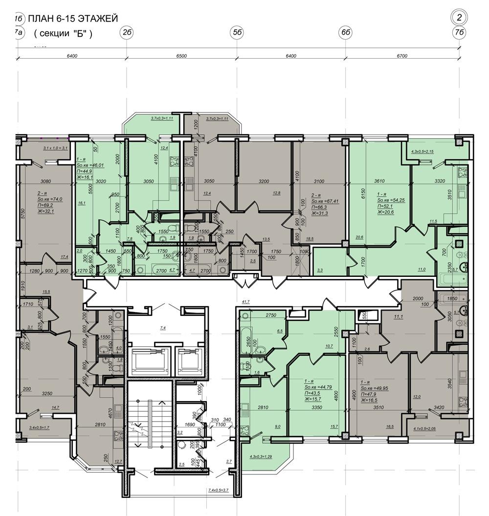 Стикон Нагорный, Планировка 2-я секция, этаж 6-15