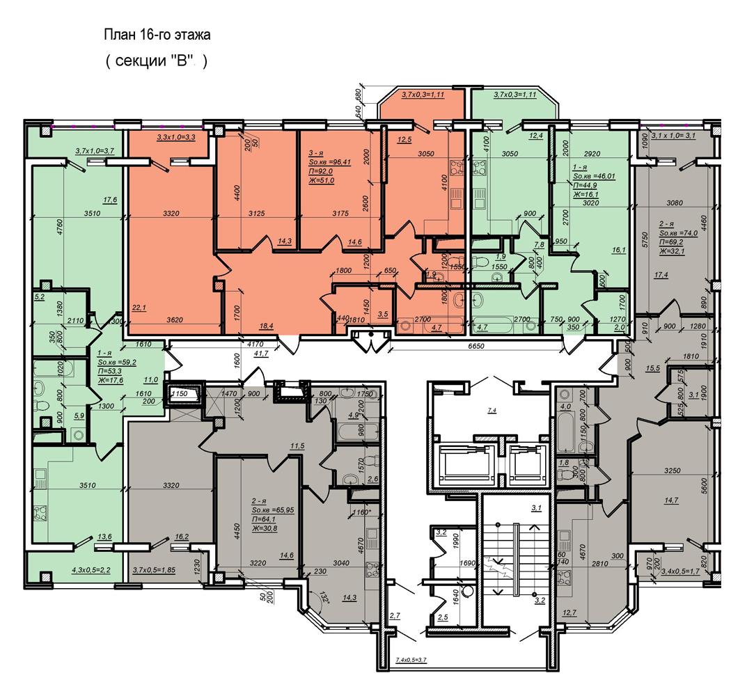 Стикон Нагорный, Планировка 3-я секция, этаж 16