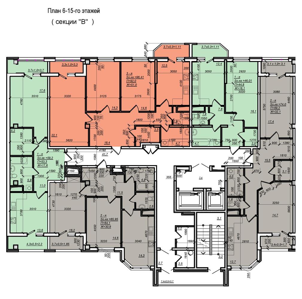 Стикон Нагорный, Планировка 3-я секция, этаж 6-15