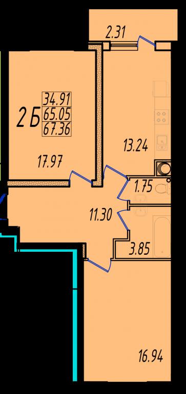 Двухкомнатная квартира в Маршал-Сити 1с-2Б планировка