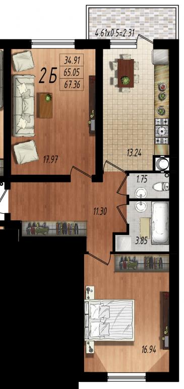 Двухкомнатная квартира в Маршал-Сити 1с-2Б