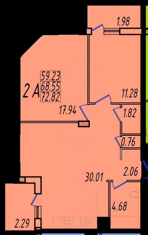 Двухкомнатная квартира в Маршал-Сити 1с-2А планировка