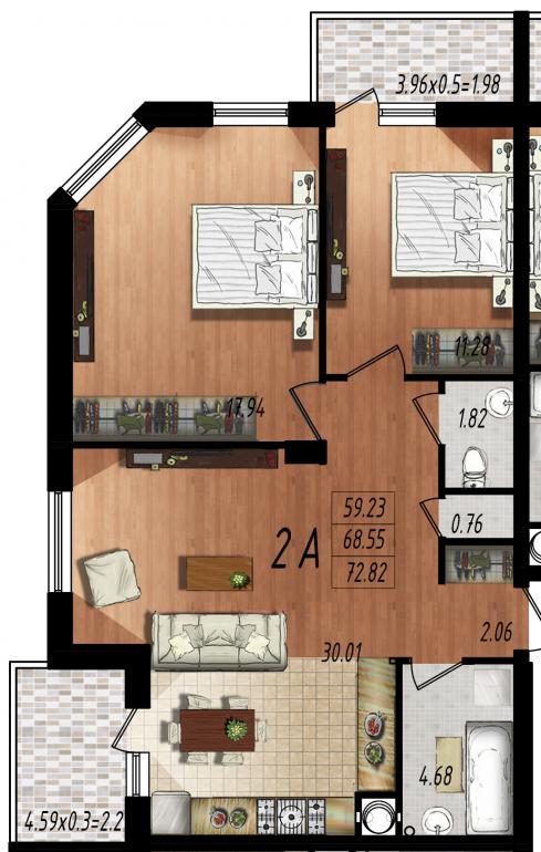 Двухкомнатная квартира в Маршал-Сити 1с-2А