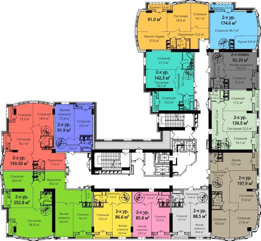 ЖК Бельэтаж (Дом на Белинского) План 16-го этажа