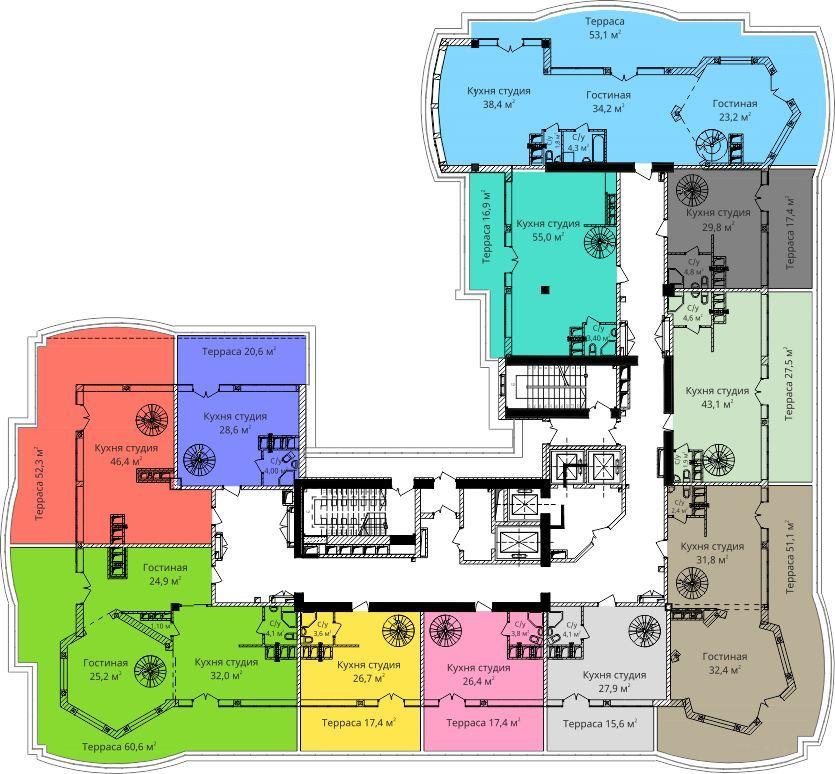 ЖК Бельэтаж (Дом на Белинского) План 17-го этажа