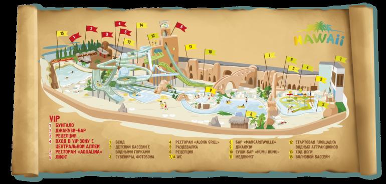 Аквапарк Hawaii план