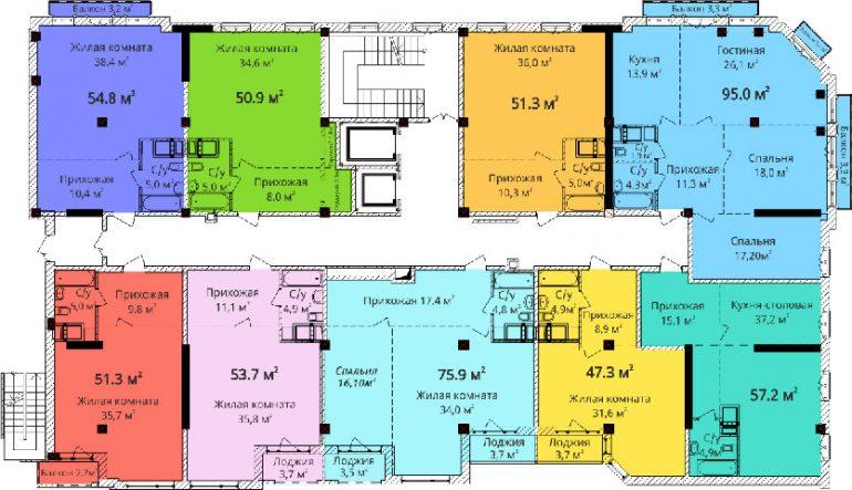 Дом на Осипова / План типового этажа
