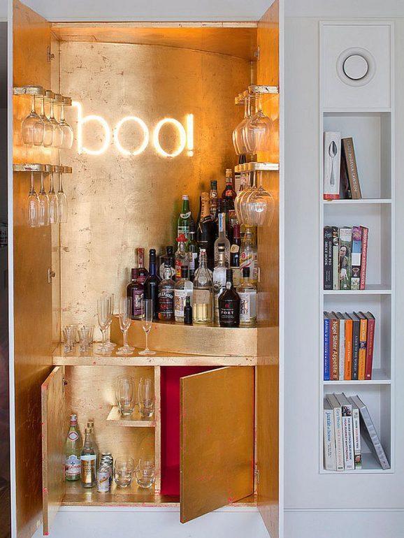 Идеи создания небольших домашних баров и расширяющий пространство дизайн.
