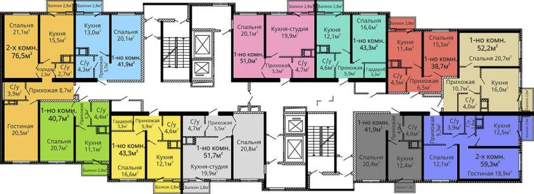 ЖК Альтаир-2 / Секция №1 / План типового этажа