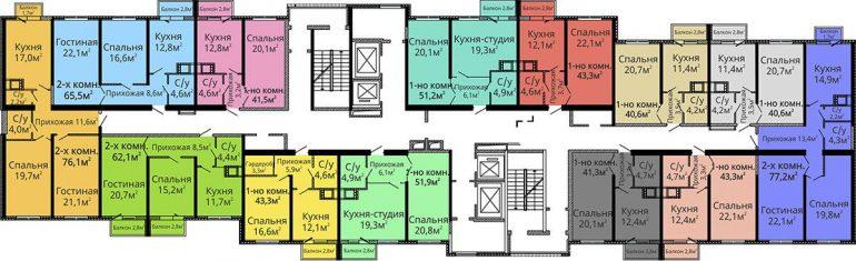 ЖК Альтаир-2 / Секция №2 / План типового этажа