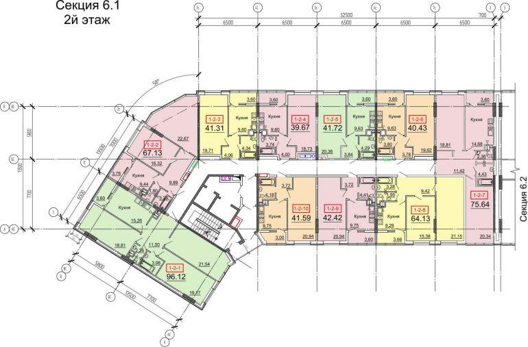 Кадорр, 31 Жемчужина, Планировка типового этажа секции 1