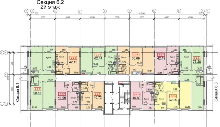Кадорр, 31 Жемчужина, Планировка типового этажа секции 2