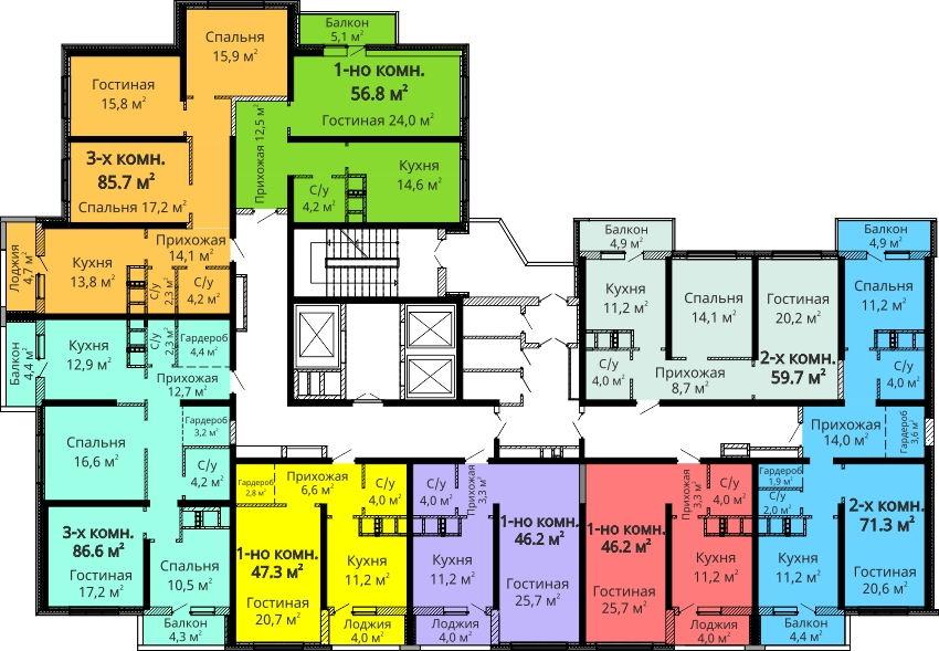 ЖК Мандарин / Секция №1 / План 14-24 этажей