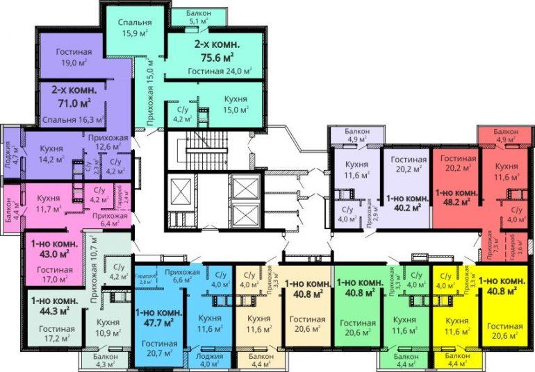 ЖК Мандарин / Секция №1 / План 2-13 этажей