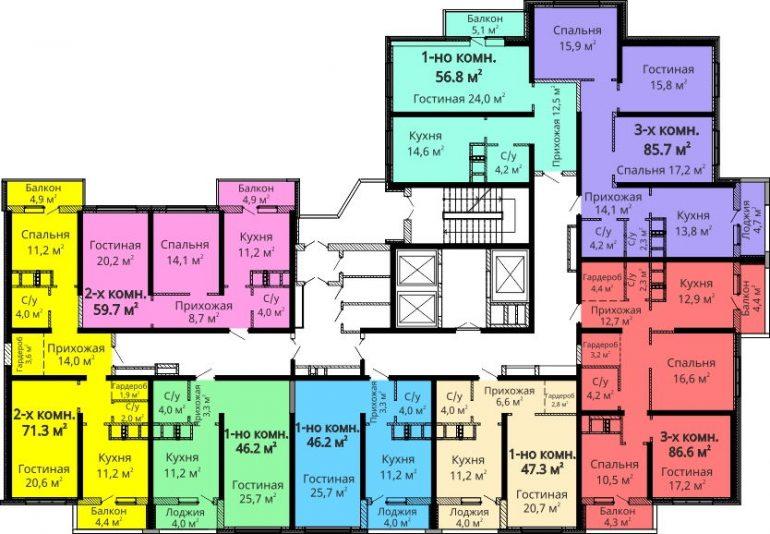 ЖК Мандарин / Секция №2 / План 14-24 этажей