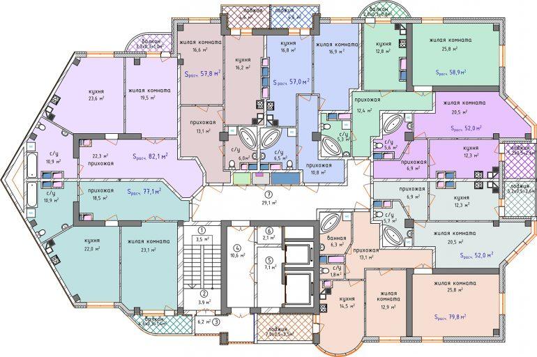 ЖК Аквамарин план секции 1А 3-4 этаж