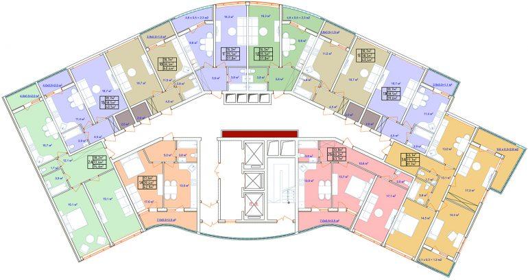 ЖК Аквамарин план секции 2А 2-8 этаж