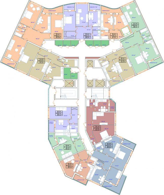 ЖК Аквамарин план секции 2Б 2-8 этаж