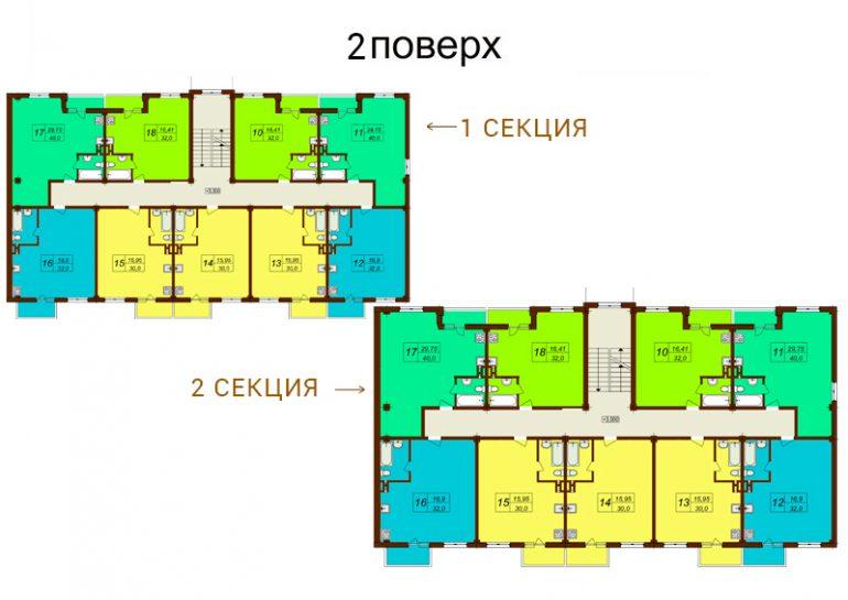 ЖК Лазурный планировка типового этажа