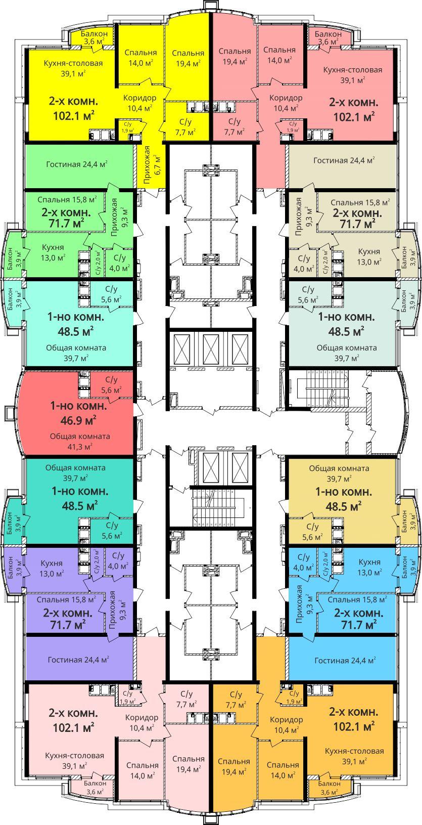 ЖК Четыре сезона Будова план секции 1 на 21-24 этаже