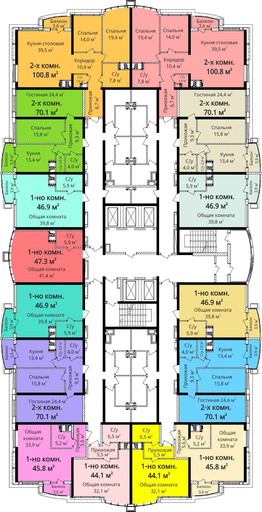 ЖК Четыре сезона план секции 1 на 6-20 этаже