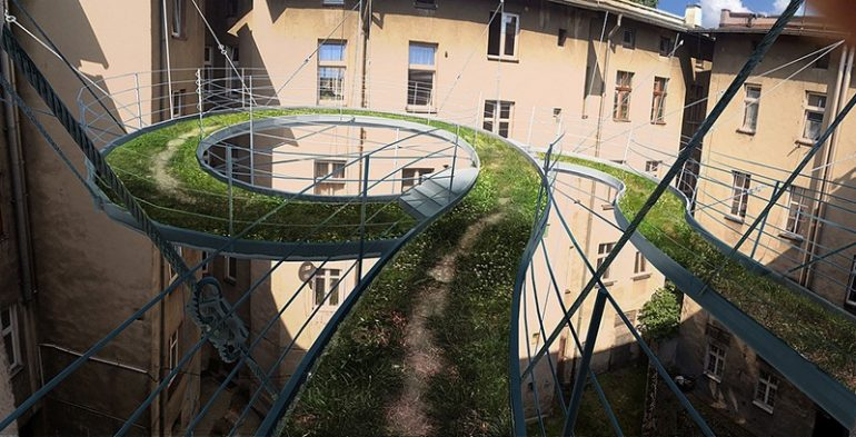 балкон пешеходный на 3 этаже