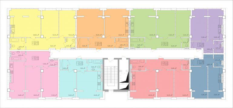 ЖК Club-marine. План этажа - секции 1, 3, 5