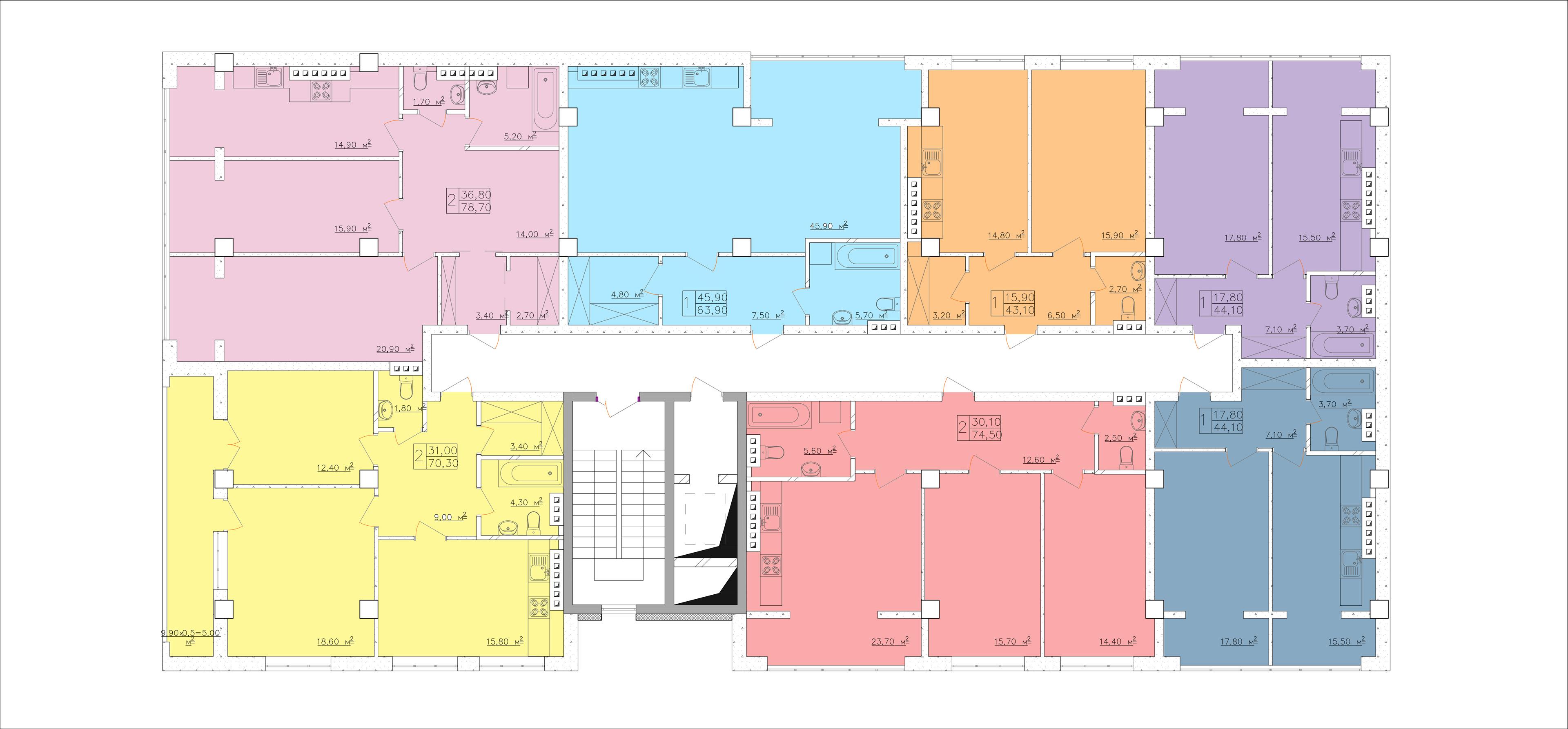 ЖК Club-marine. План этажа - секция 2