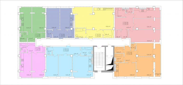 ЖК Club-marine. План этажа - секция 4