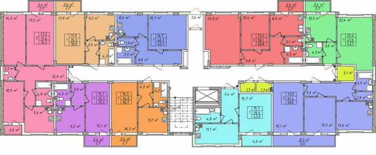 Дом на Щорса план 1 этажа секция 1
