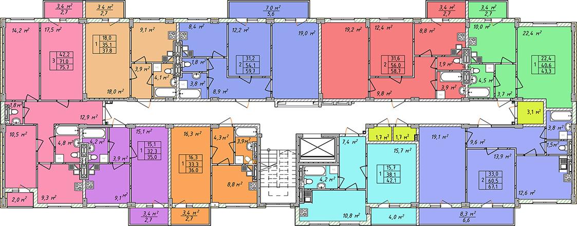 Дом на Щорса план этажа секция 1