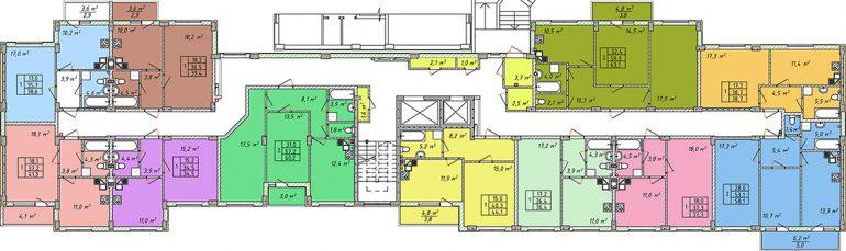 Дом на Щорса план 1 этажа секция 2