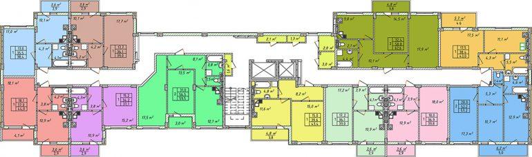 Дом на Щорса план этажа секция 2
