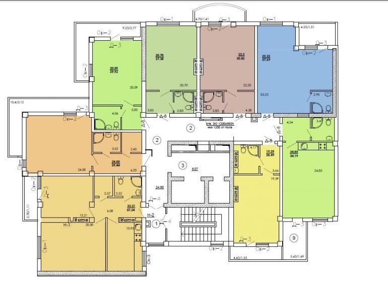 ЖК Одесский двор План типового этажа (Секция 8)