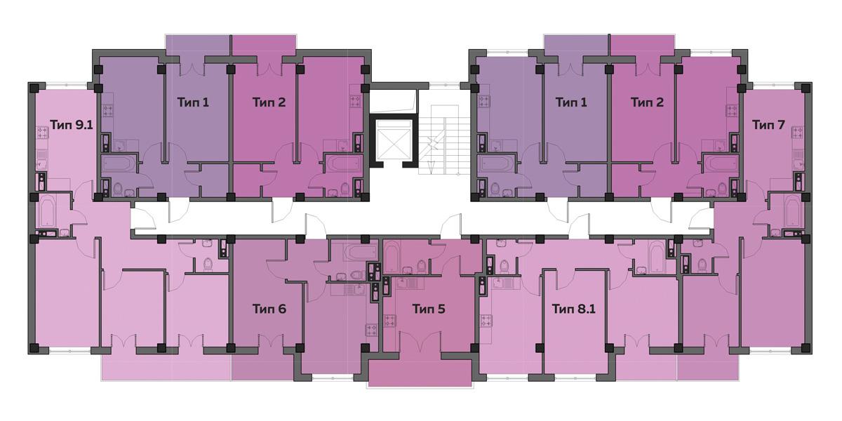 ЖК Артвиль Моне дом 10 Планировка типового этажа