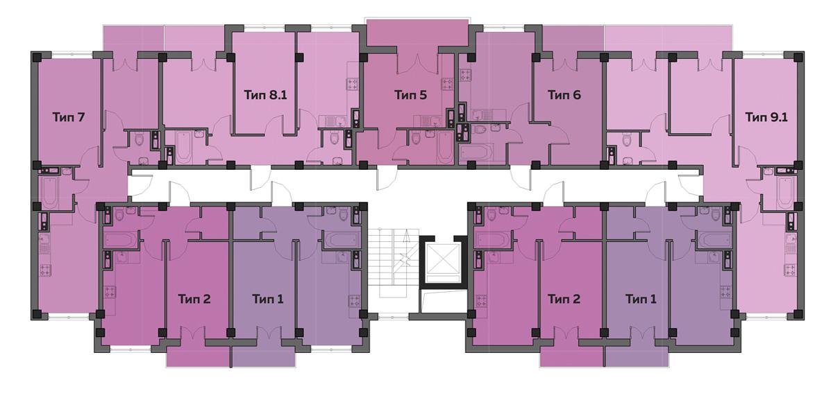 ЖК Артвиль Моне дом 7 Планировка типового этажа