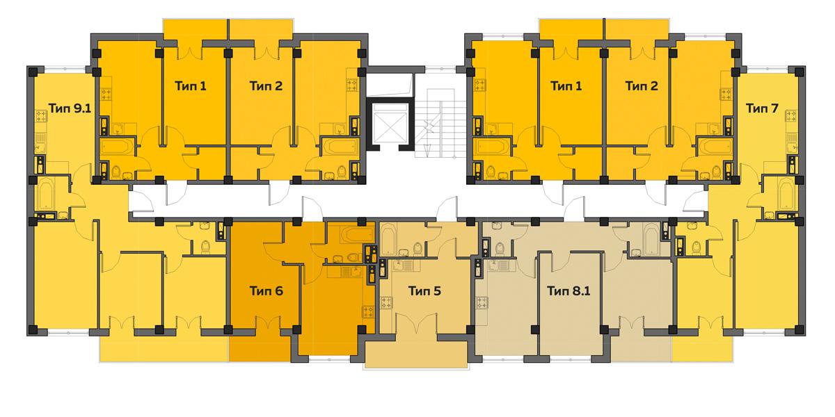 ЖК Артвиль Диана дом 1 Планировка типового этажа
