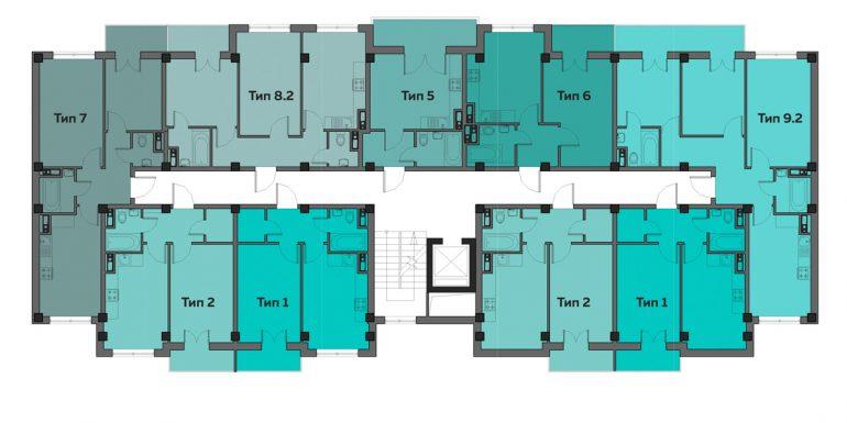 ЖК Артвиль Густав дом 13 Планировка типового этажа