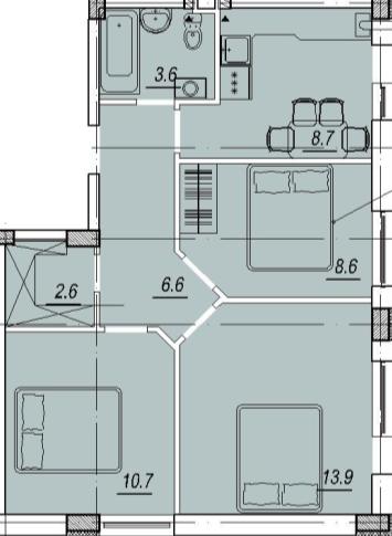 ЖК Новый Люстдорф планировка трехкомнатной квартиры