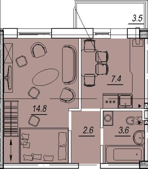 ЖК Новый Люстдорф планировка 1 ком квартиры