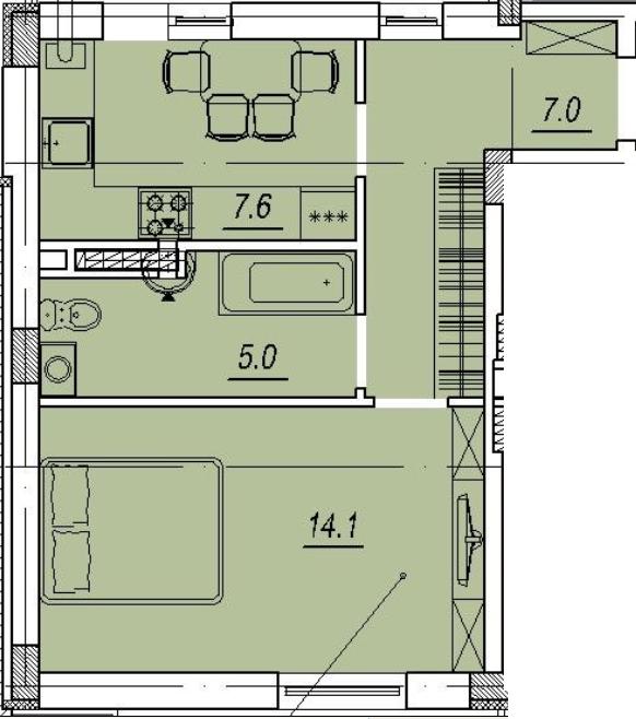 ЖК Новый Люстдорф квартира в Одессе планировка 1 ком квартиры