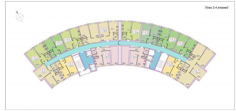 ЖК 42 Жемчужина План 2-4 этажей