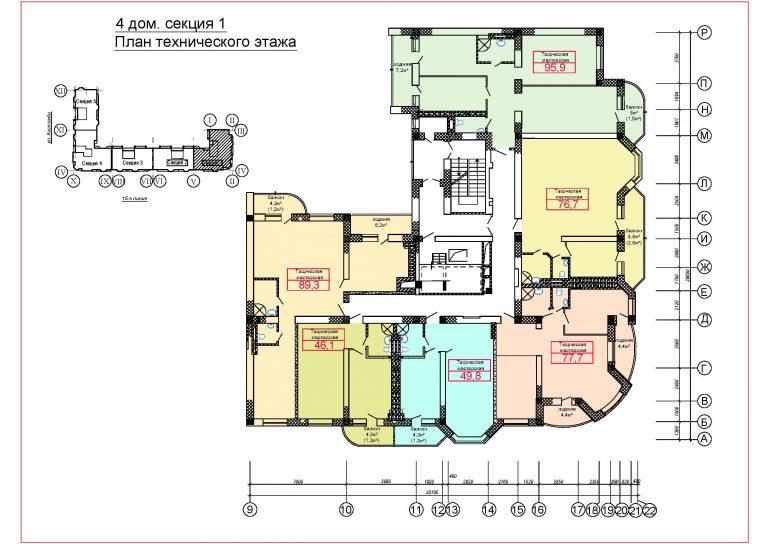 ЖК Верноисаж4 дом 1 секция тех этаж
