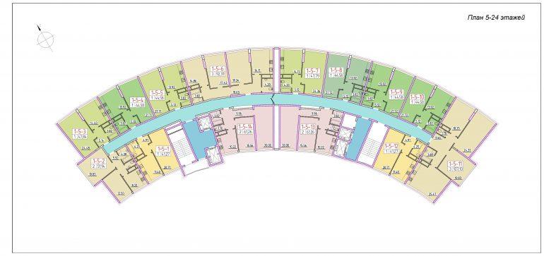 ЖК 42 Жемчужина План 5-24 этажей