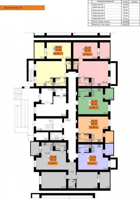 ЖК Ривьера Сити Секция А6 1й этаж