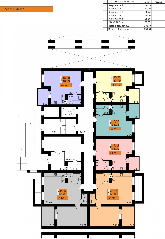 ЖК Ривьера Сити Секция А7 1й этаж