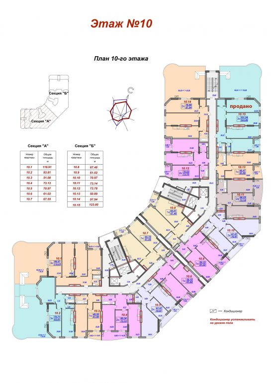 ЖК Милос планировка 10 этажа