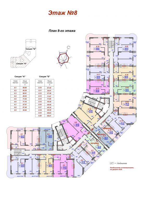 ЖК Милос планировка 8 этажа