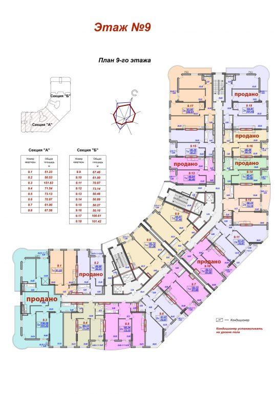 ЖК Милос планировка 9 этажа