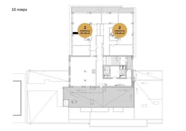 ЖК Ясная поляна 2 планировка 10 этажа